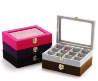 Velvet Glass Jewelry Ring Earring Display Box Tray Holder