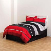Red Black Gray Striped 8 piece Comforter Bedding Set Twin ...