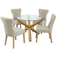 Solid Oak and Glass Dining Table Round 42"