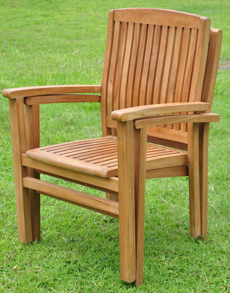 Qty 2  Wave GradeA Teak Wood Dining Stacking Arm Chair