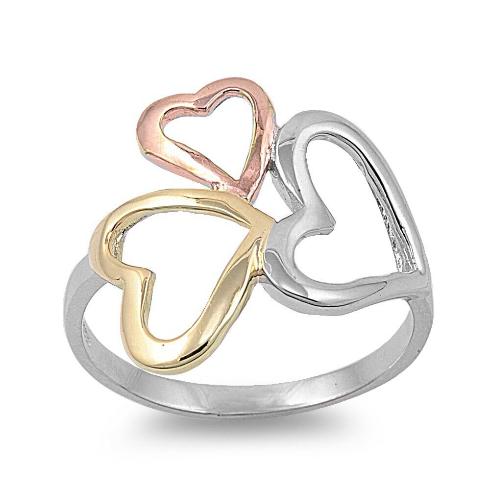 .925 Sterling Silver Three Hearts Friendship Promise Ring