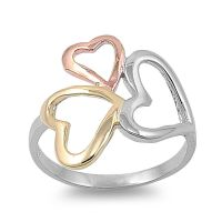.925 Sterling Silver Three Hearts Friendship Promise Ring ...