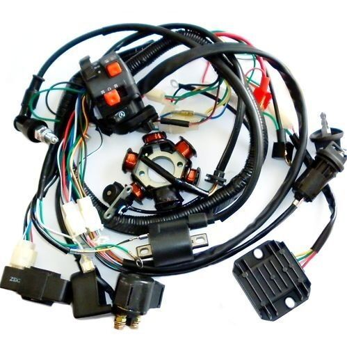 110 Atv Wiring Diagram Magneto Full Electrics Wiring Harness Cdi Coil Solenoid Gy6 150cc