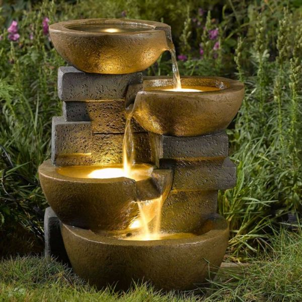 Water Fountain Pots Led Lights Outdoor Yard Garden