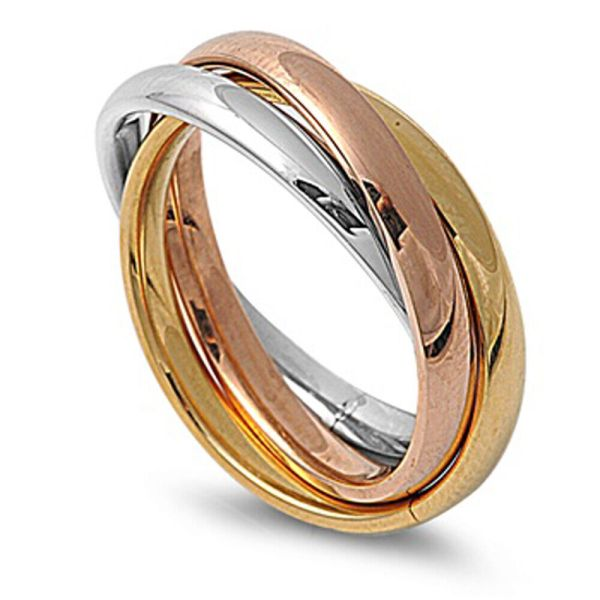 3mm Men Stainless Steel 316l Ring Tri Color Tone