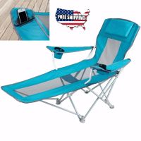 Reclining Folding Camping Chair With Footrest Stool Beach ...