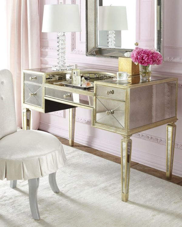 Gold Silver & Antique Mirror Vanity Makeup Desk Horchow