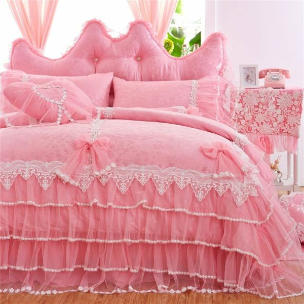 White Lace Ruffle Bedding Set