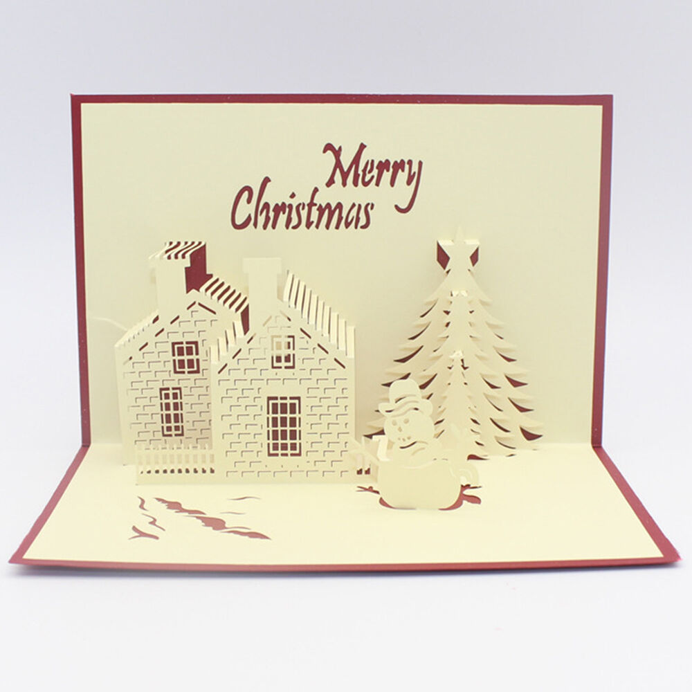 Hot 3D Pop Up Paper Handmade Greeting Cards Xmas Gifts