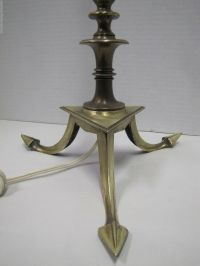 Antique Arts & Crafts Arrow Base Lamp brass bronze triple