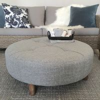 Large 90cm Grey Round Ottoman/Coffee Table/Tufted/Hampton