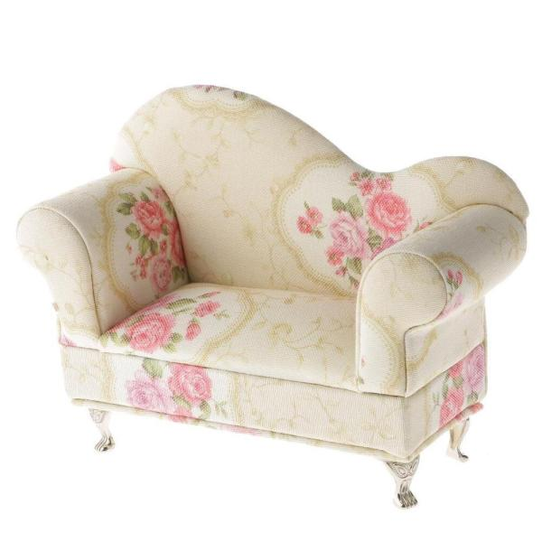 Floral Pattern Sofa with Mirror Jewelry Box Showcase
