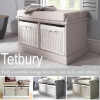 Tetbury Bench with 2 White Baskets. Hallway storage bench ...