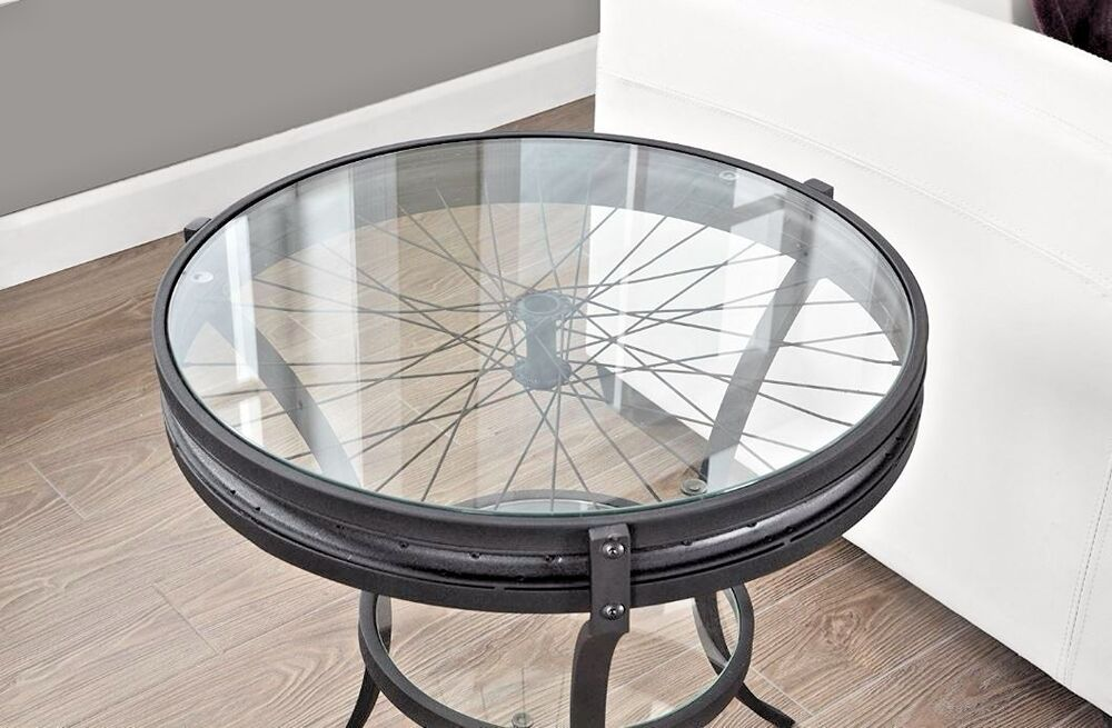Accent Table Industrial Vintage Round Glass Bicycle Wheel