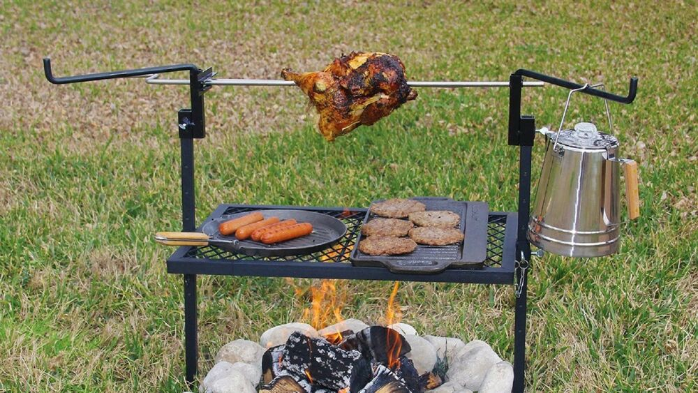 Outdoor Campfire Cooking Grill Rotisserie Camping