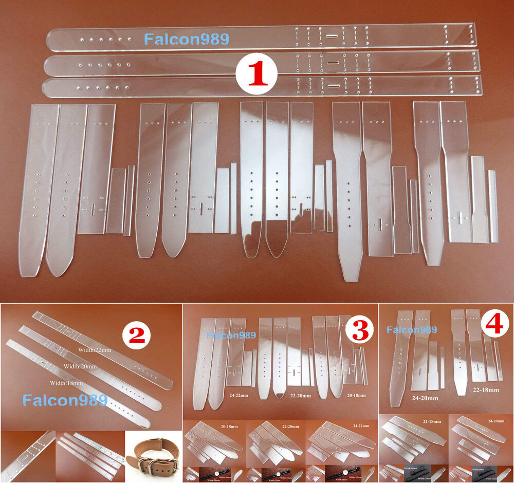4 Kinds 3 Size Leather Craft Acrylic Watch Strap Band Stencil Template Tool Set EBay