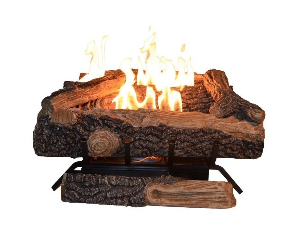 24 in Vent Free Propane Gas Fireplace Logs Heater Realistic Insert Thermostat  eBay