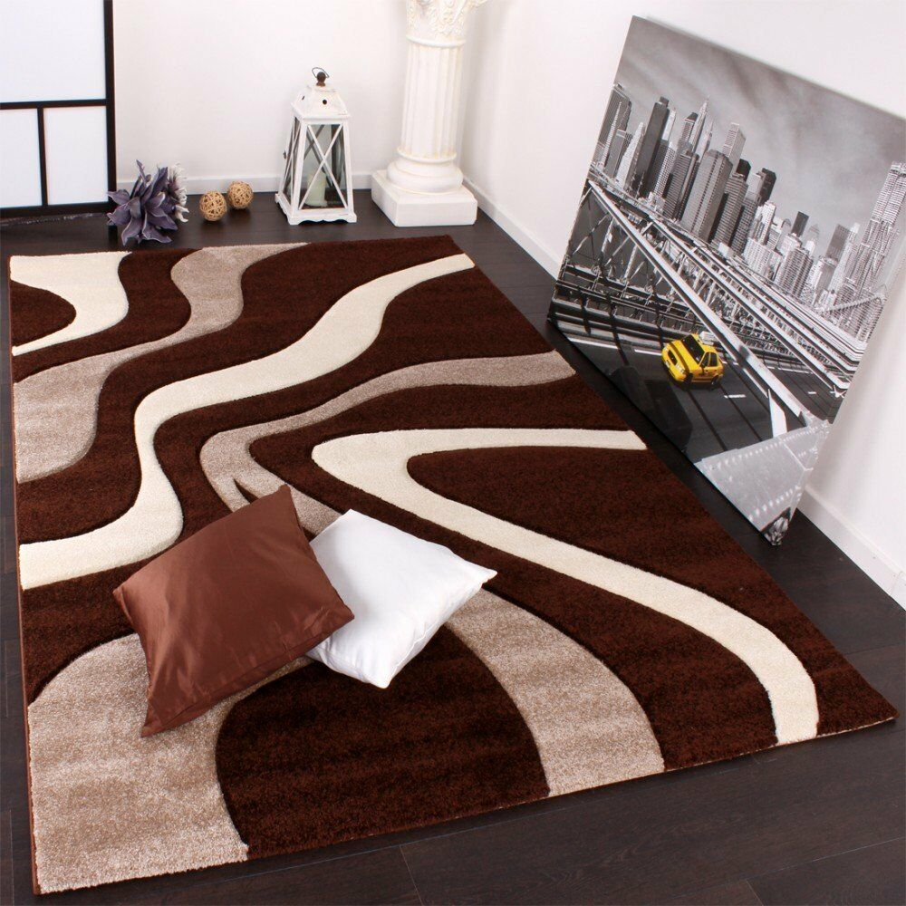 Luxury Brown and Cream Rug Abstract Pattern Living Room