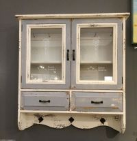 Wooden Cabinet Vintage French Glass Wall Storage Unit ...