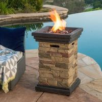 Patio Fire Pit Table Outdoor Gas Fireplace Bowl Propane ...