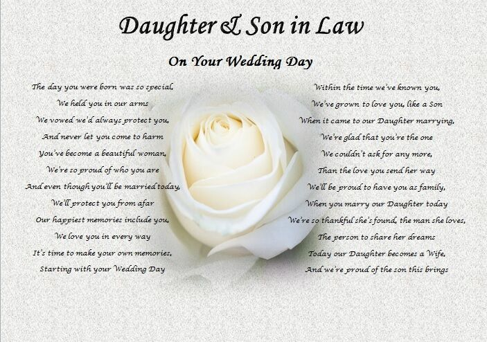 DAUGHTER Amp SON IN LAW Wedding Day Poem Gift Rose EBay