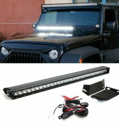 details about 150w 30 led light bar w hood mounting bracket wiring for 07 17 jeep wrangler [ 1000 x 1000 Pixel ]