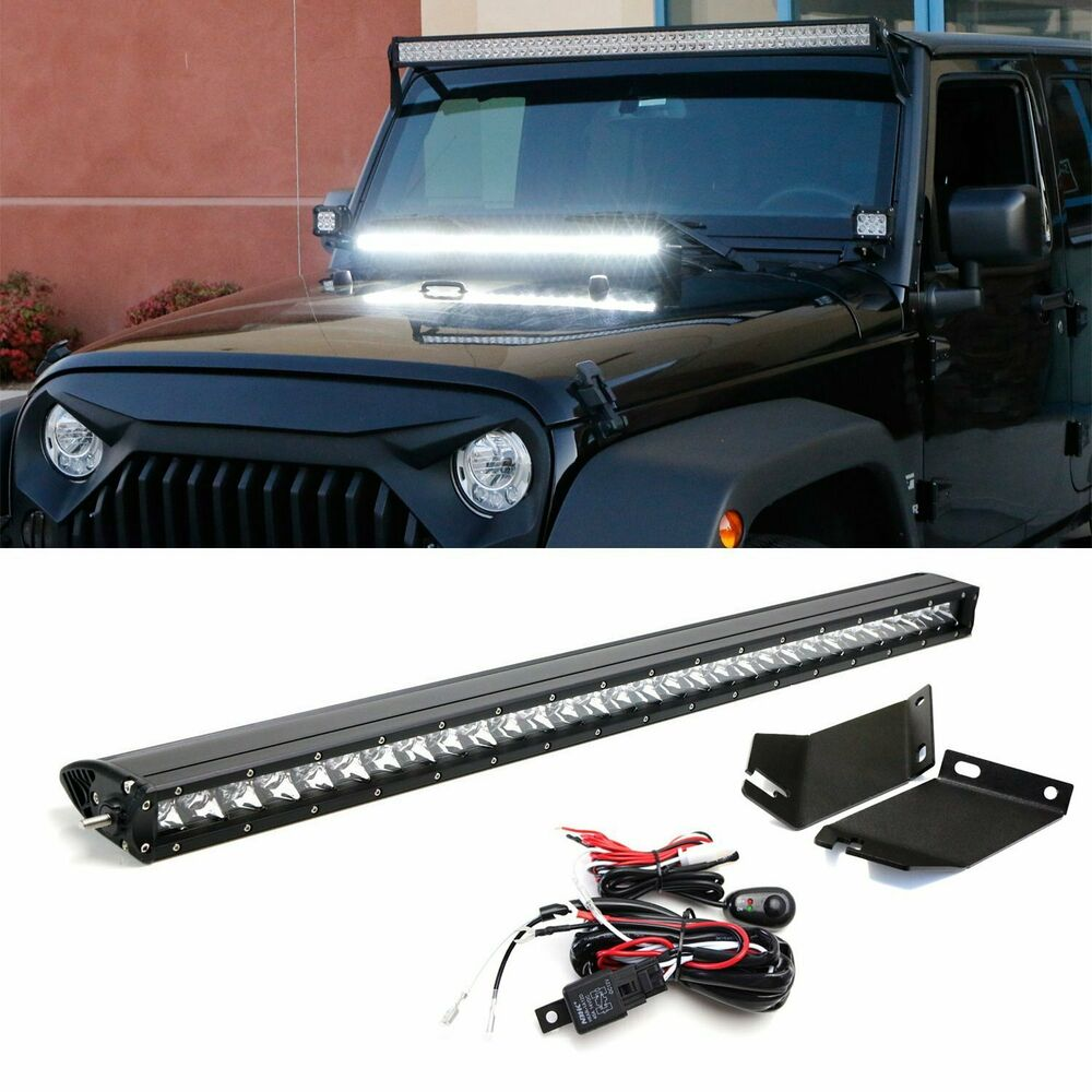 medium resolution of details about 150w 30 led light bar w hood mounting bracket wiring for 07 17 jeep wrangler