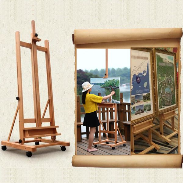 Portable Artist Durable Wooden Easel 360 -frame Withcaster
