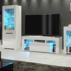 White Gloss Living Room Furniture Armchairs Ideas Modern Matt Tv Unit Display Details About Cabinet Led Lights