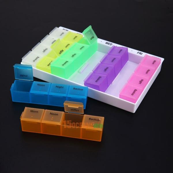 Cell 7 Day Weekly Pill Storage Box Medicine Tablet