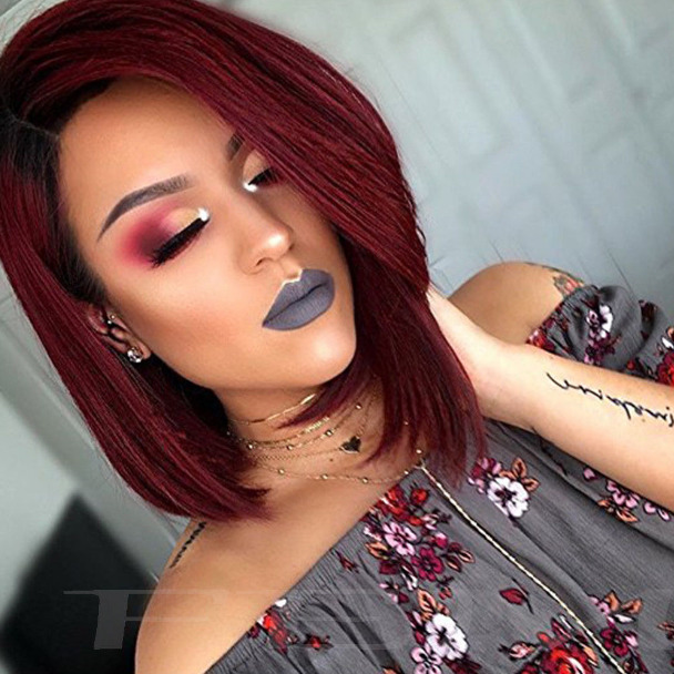 Synthetic Ombre Red Bob Hair Dark Roots Short Straight