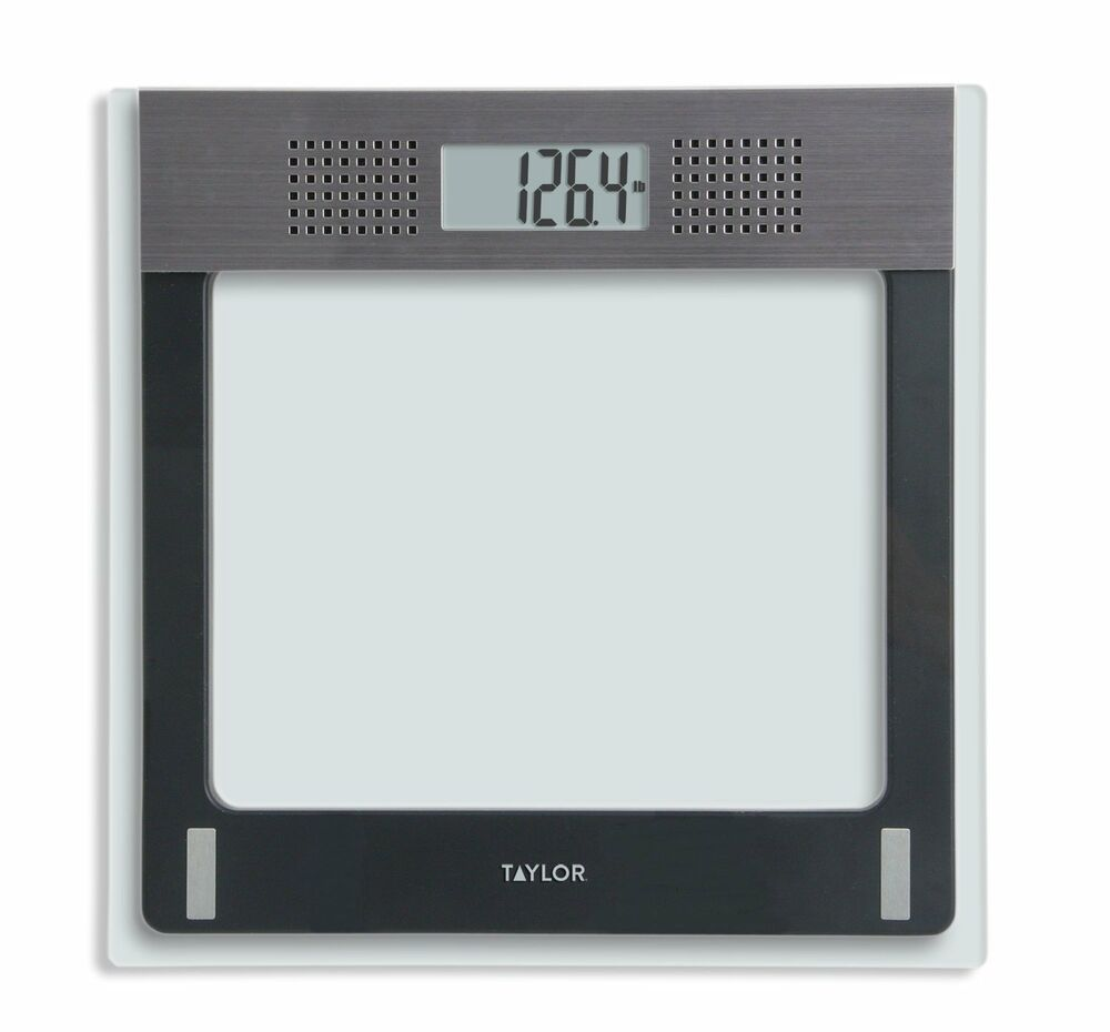 Taylor Electronic Glass Talking Bathroom Scale 440 Lb Capacity  eBay