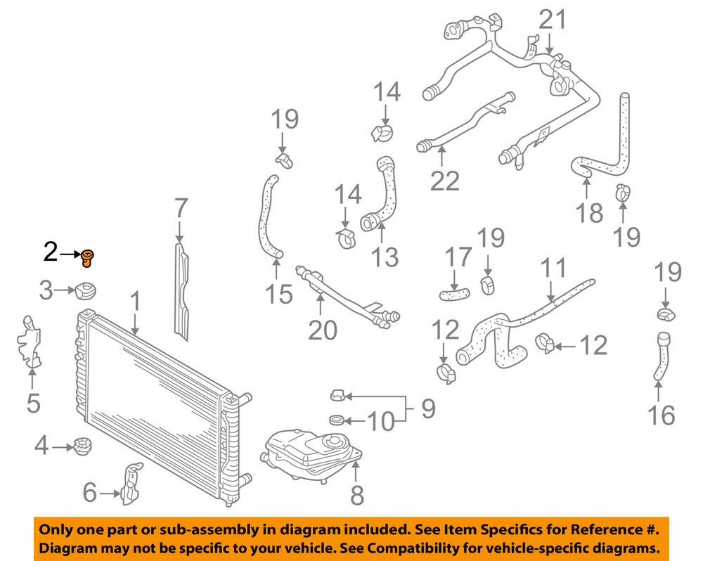 medium resolution of details about audi oem 00 11 a6 quattro 4 2l v8 radiator mount bolt 8d0121200