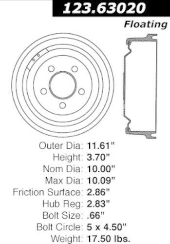 Brake Drum fits 1971-1976 Plymouth Valiant Duster,Scamp