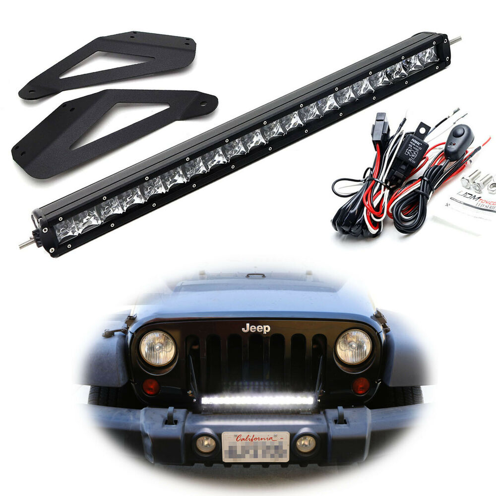 hight resolution of details about behind upper grill 20 led light bar w bracket wiring for 2007 17 jeep wrangler