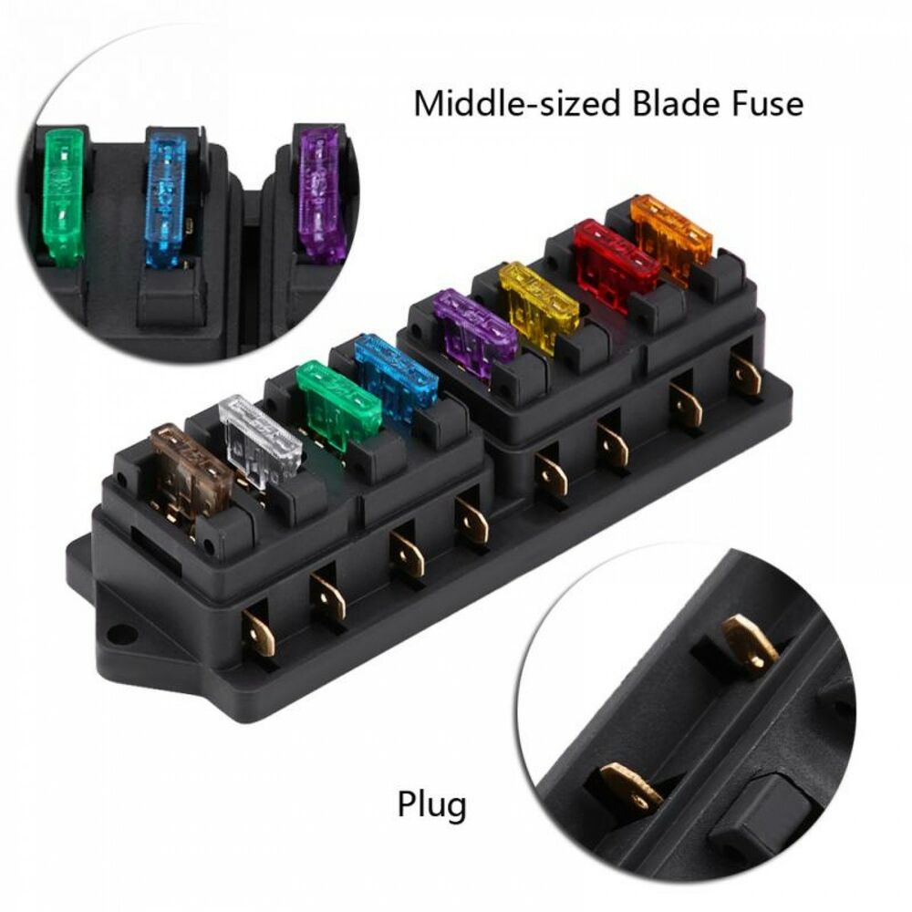 hight resolution of details about car auto 12v 24v 8 way circuit standard blade fuse box block holder universal