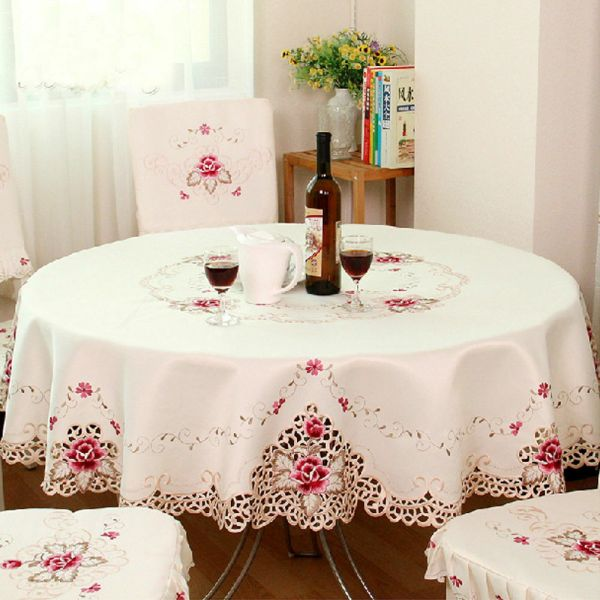 Embroidered Floral Fabric Cutwork Tablecloth White Lace Table Topper Cloth