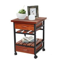 Bedside Table with Drawers Rolling Nightstand Small End ...