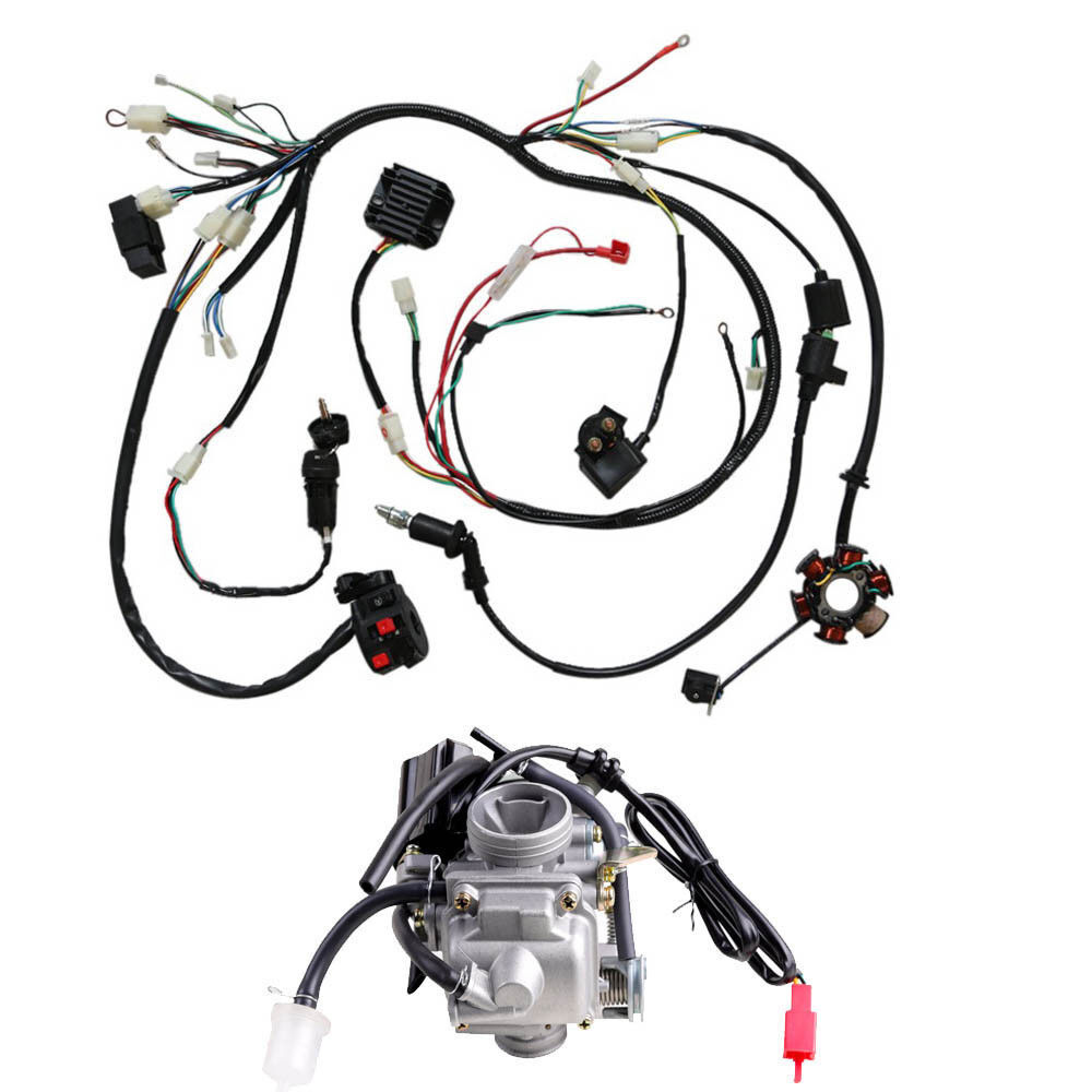 hight resolution of details about gy6 125cc 150cc carburetor wiring harness for moped scooter go kart atv roketa