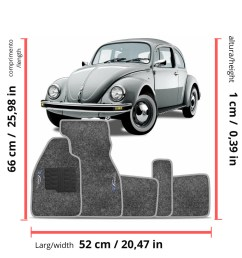 details about vw old bug beetle interior carpet floor mat logo gray set classic 1950 1978 rhd [ 1000 x 1000 Pixel ]