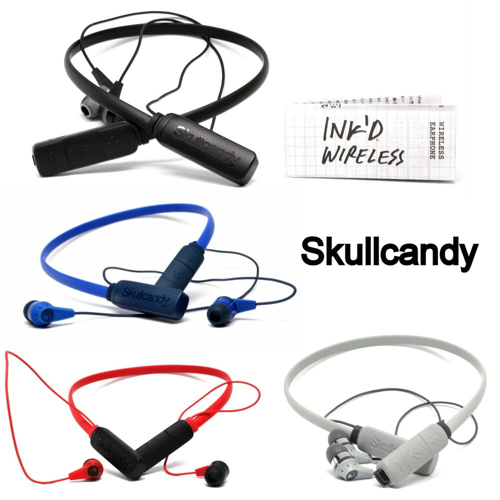 hight resolution of details about skullcandy ink d wireless bluetooth earphones with mic white red black blue new