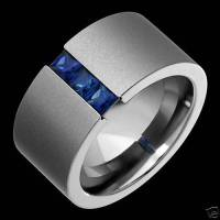 Tension Set Titanium Rings Blue Sapphire Wedding Bands | eBay