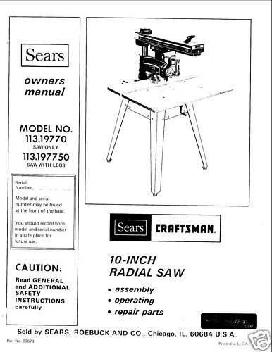Craftsman Scroll Saw Manual Pdf