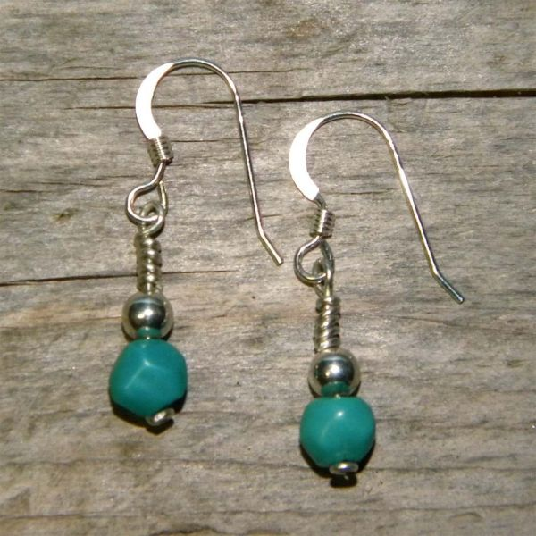 Turquoise Handcrafted Artisan Dangle Earrings Solid
