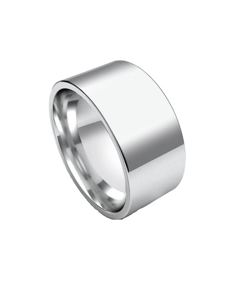 Polished 10mm Wide Engravable Flat Stainless Steel Unisex Men Wedding Ring Band Ebay