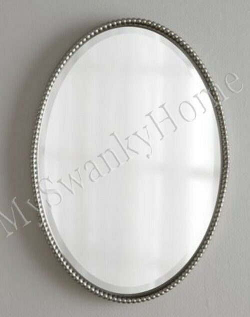 32 BEADED SILVER Oval Metal Wall Mirror HORCHOW Neiman
