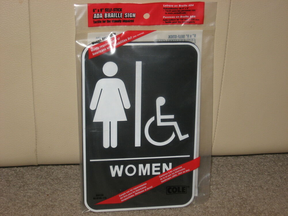 WOMENS RESTROOM SIGN 6 X 9 SELF STICK ADA APPROVED