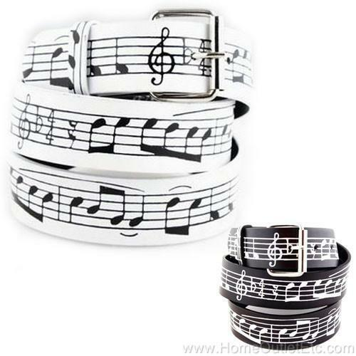 Music Staff Printed Leather Belt Treble Clef Musical Notes