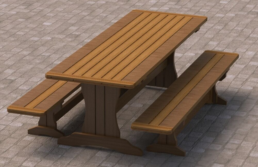 8ft Trestle Style Picnic Table With Benches 002 Building