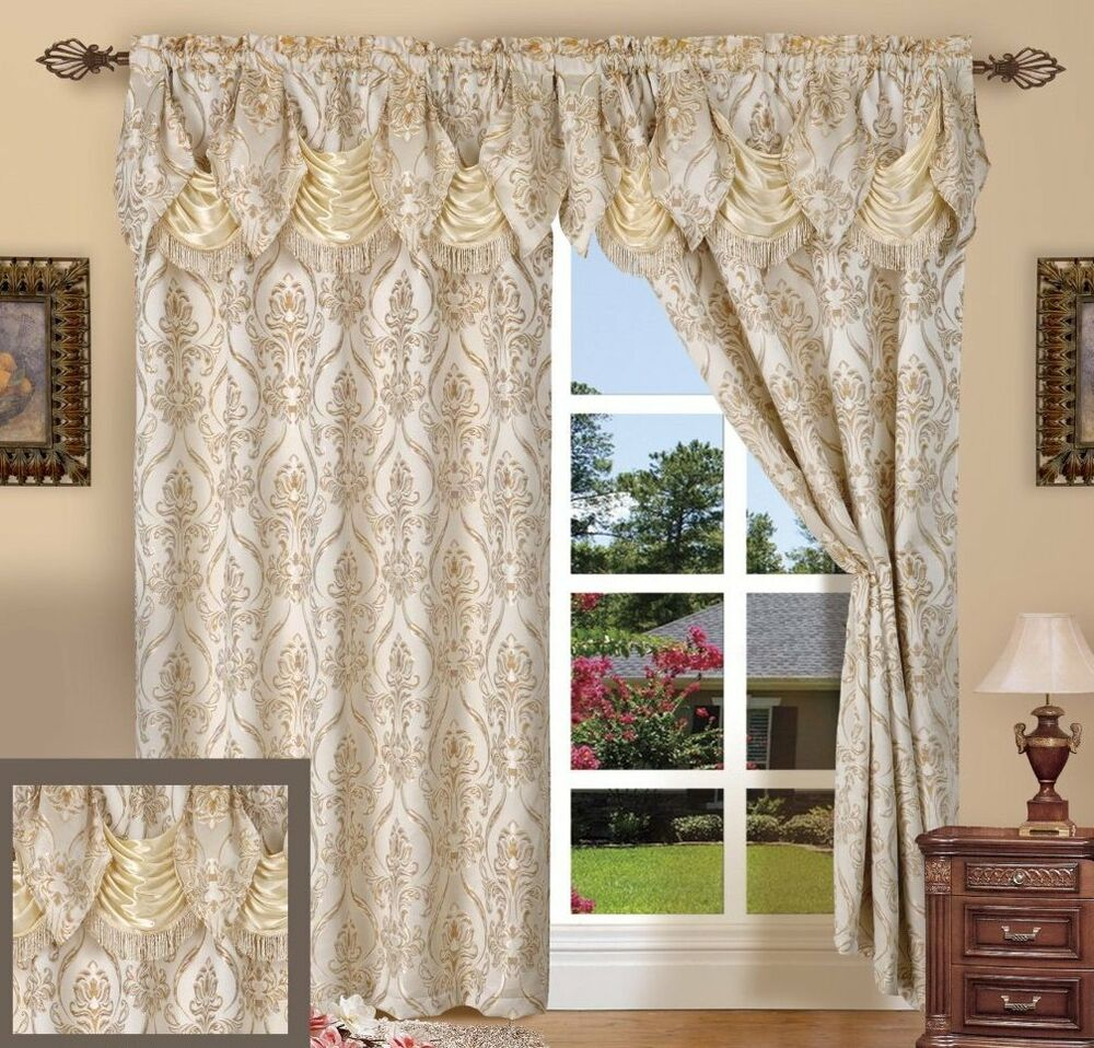 SET OF 2 PENELOPIE CURTAIN PANELS WITH ATTACHED AUSTRIAN VALANCE